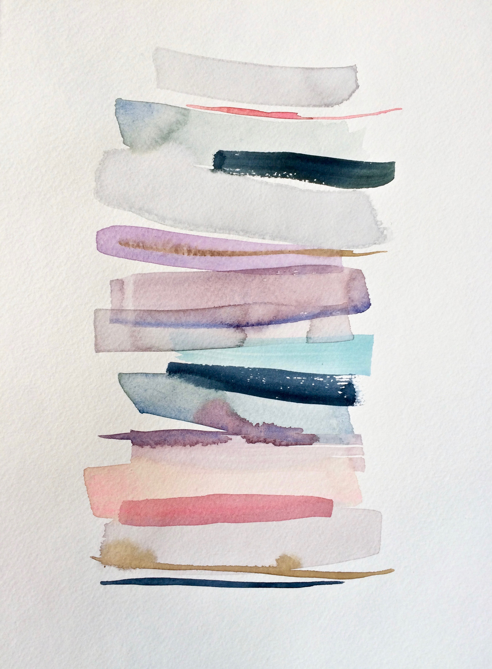 Stacks 1 - watercolour painting in pastel colours