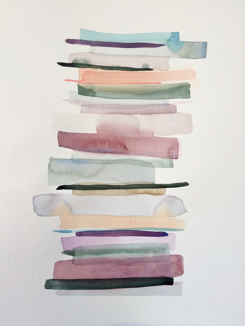 Stacks 2 - watercolour painting in pastel colours