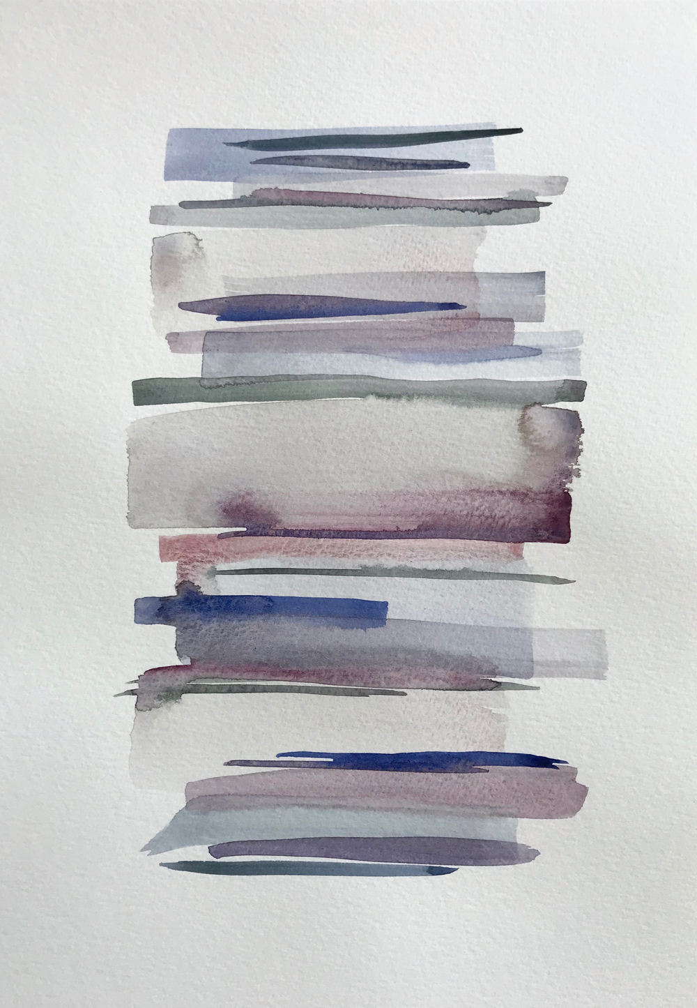 Stacks 11_Watercolour Painting with pastel coloured stripes that look like piled up books