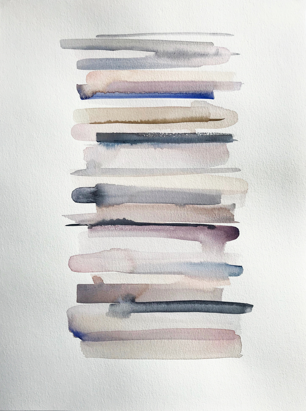 Stacks 13_Watercolour Painting with pastel coloured stripes that look like piled up books