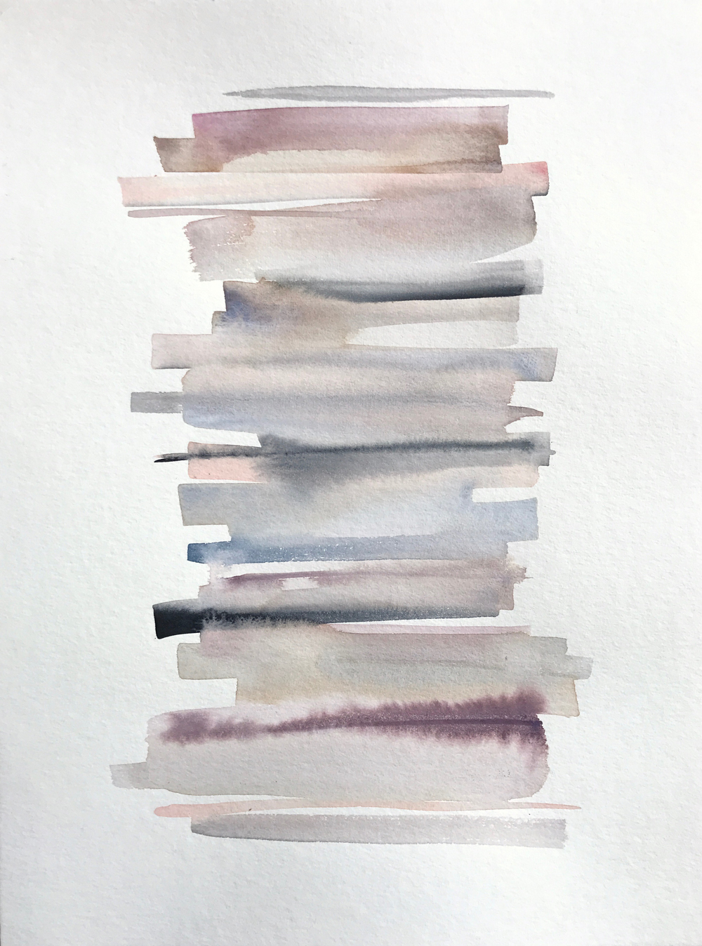 Stacks 15_ Watercolour Painting with pastel coloured stripes that look like piled up books