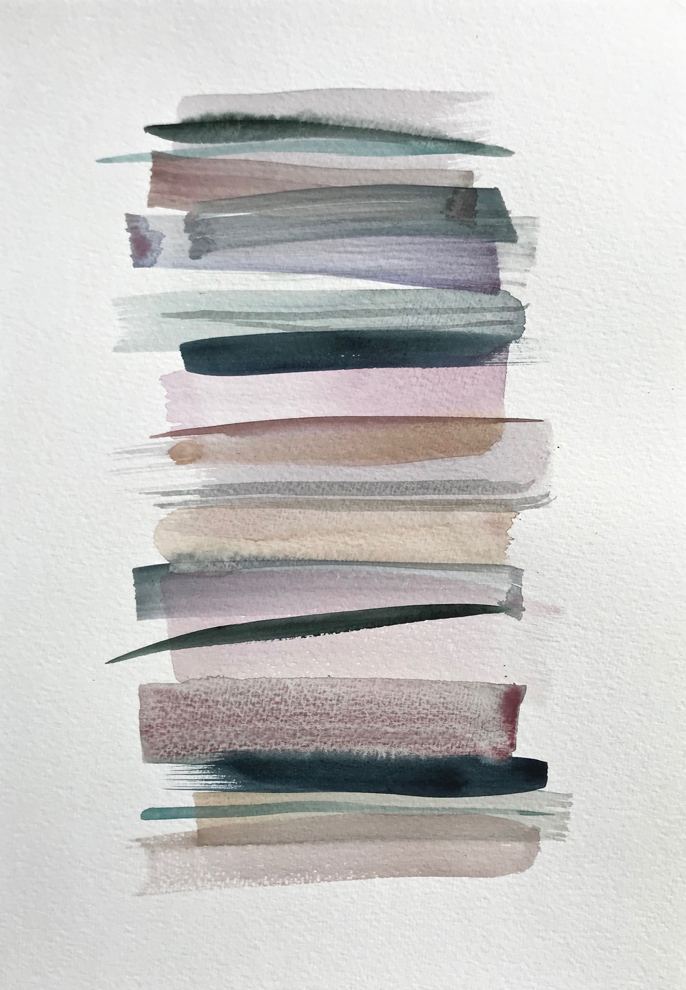 Stacks 16_ Watercolour Painting with pastel coloured stripes that look like piled up books