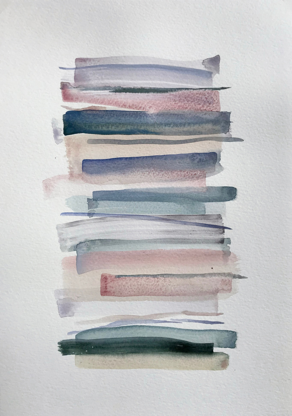 Stacks 17_ Watercolour Painting with pastel coloured stripes that look like piled up books