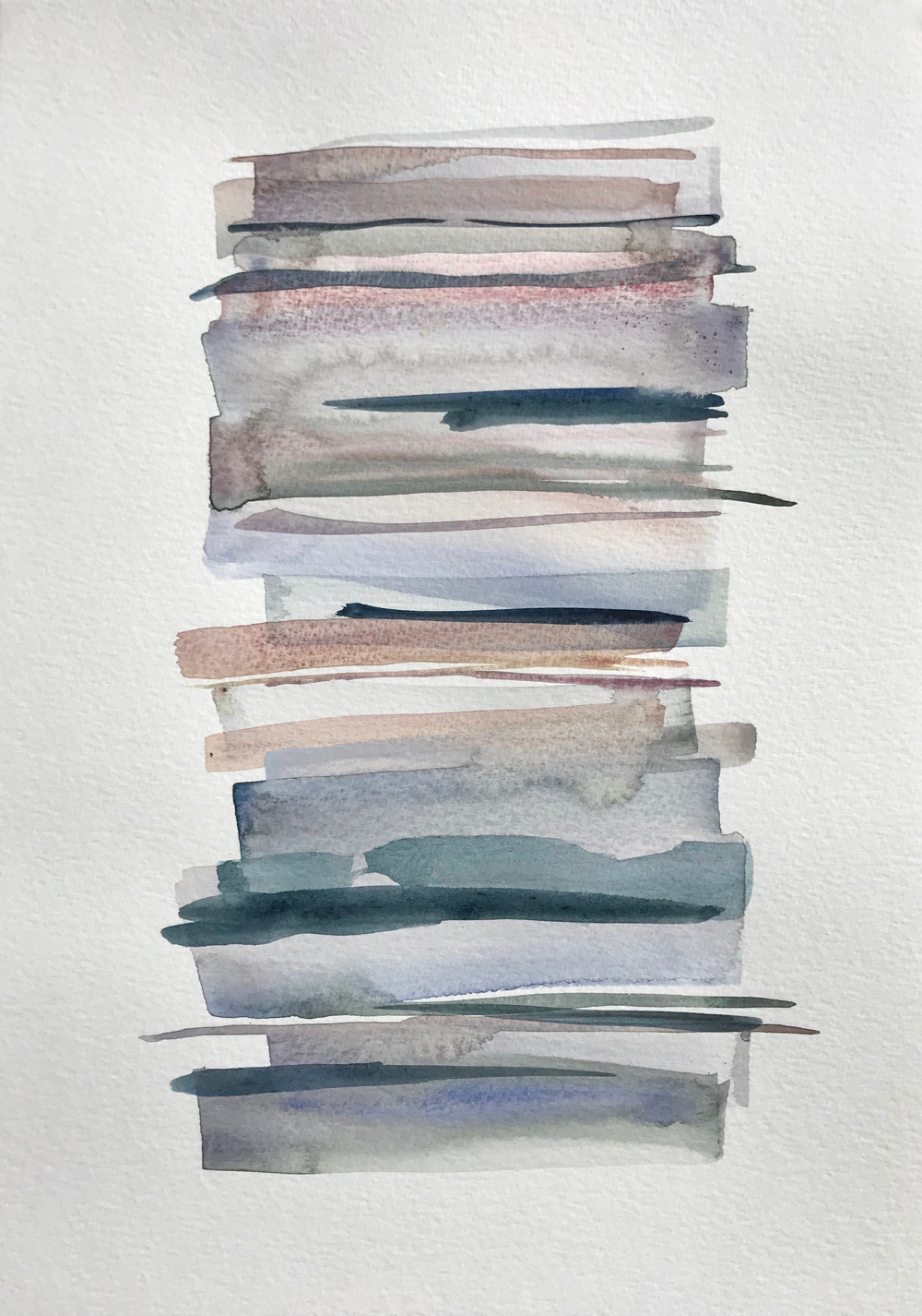 Stacks 18_ Watercolour Painting with pastel coloured stripes that look like piled up books