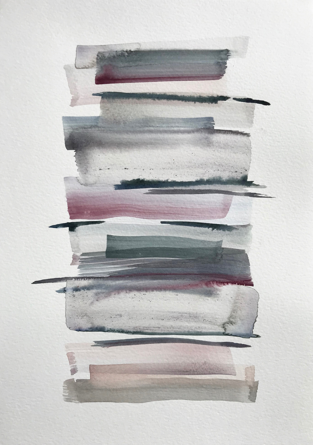 Stacks 19_Watercolour Painting with pastel coloured stripes that look like piled up books