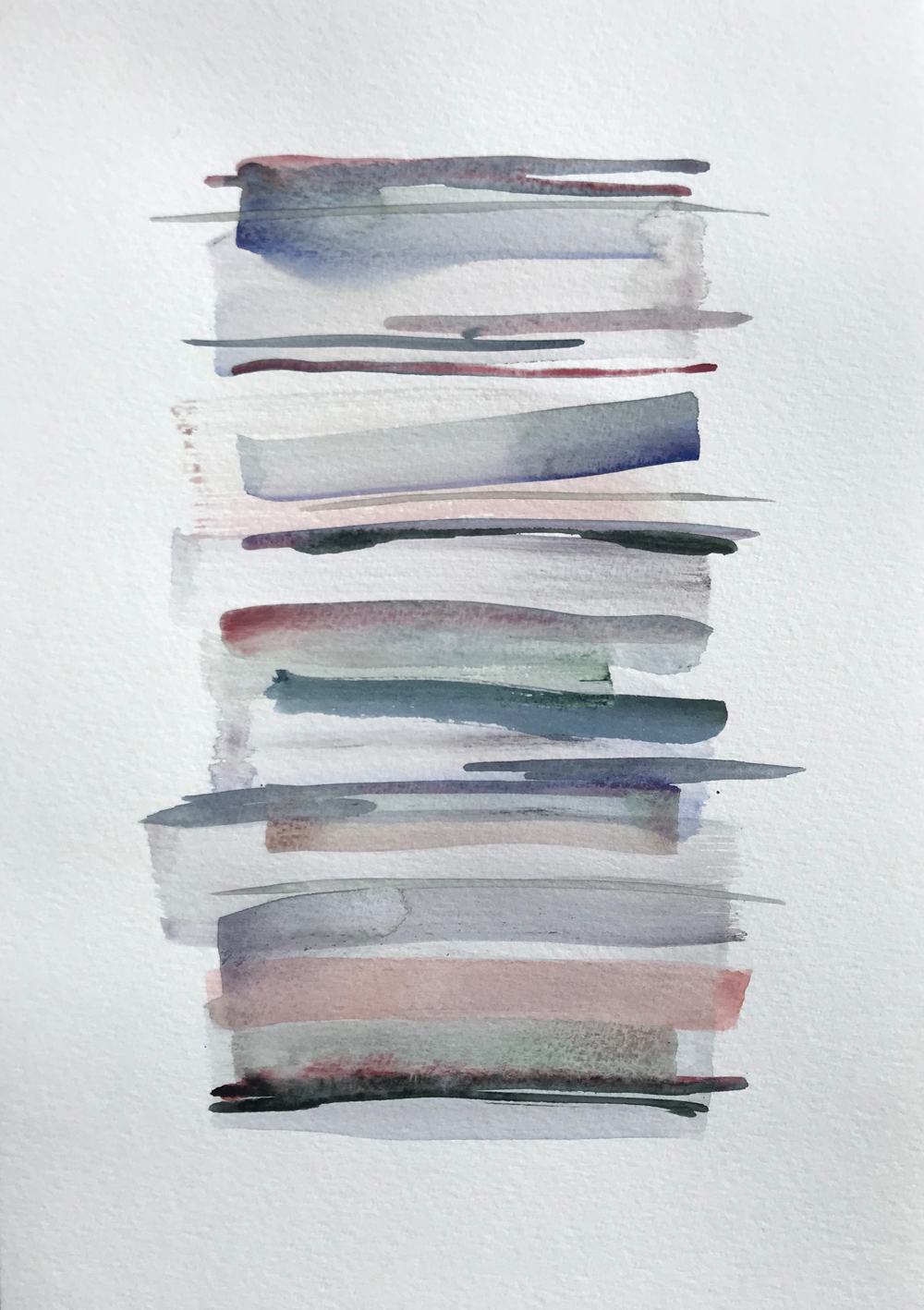Stacks 20_Watercolour Painting with pastel coloured stripes that look like piled up books
