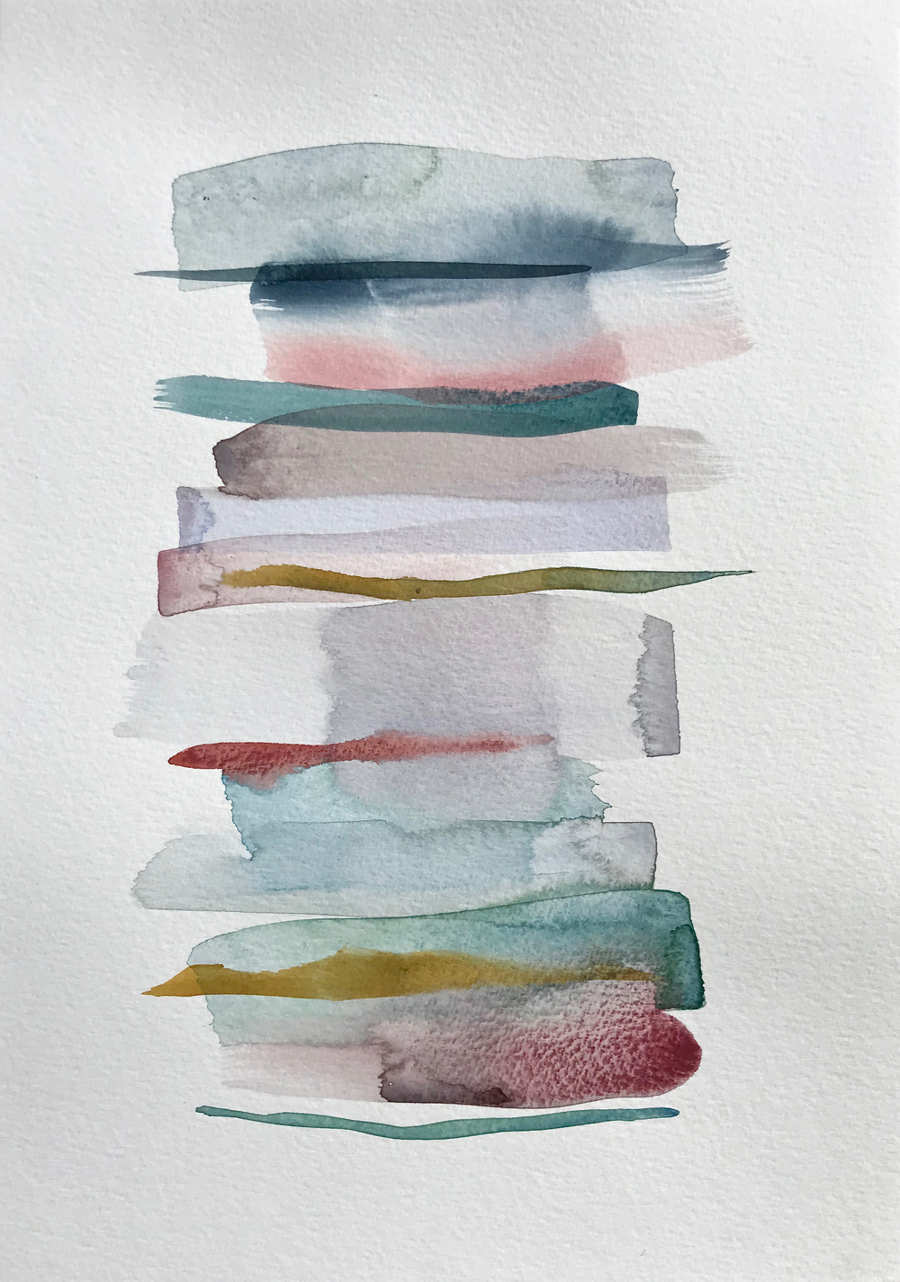 Stacks 9_Watercolour painting pastel coloured stripes that look like piled up books