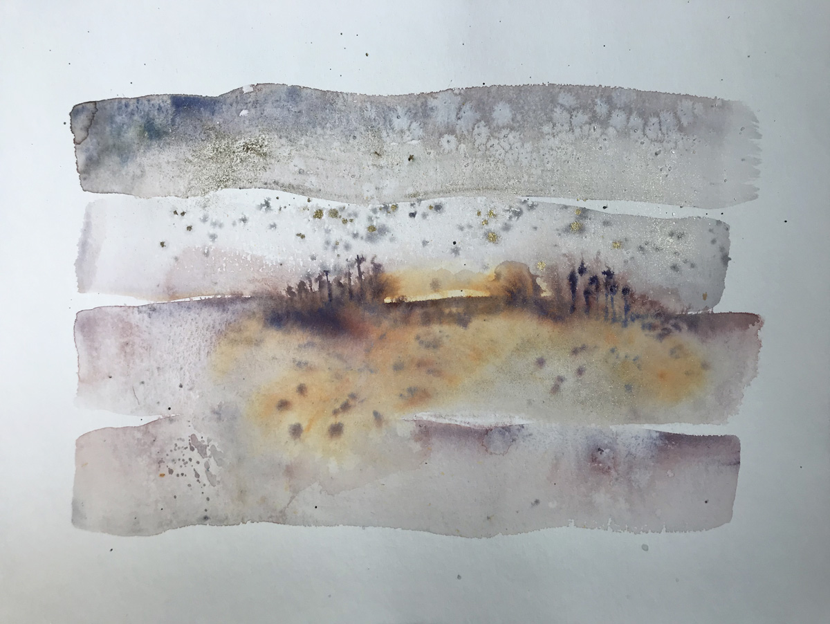 Little Landscape 10 Abstract watercolor painting on paper, buy original artwork online
