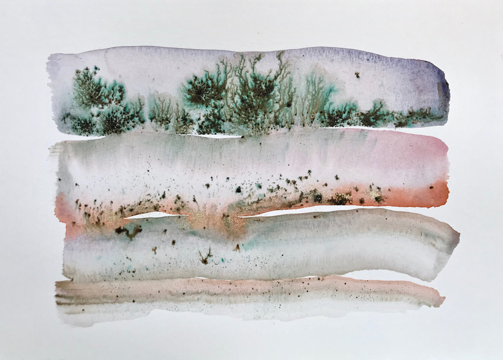 Little Landscape 12 Abstract watercolor painting on paper
