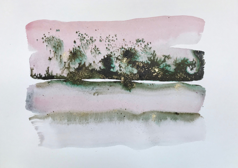 Little Landscape 6 Abstract watercolor painting on paper Expressive watercolour art