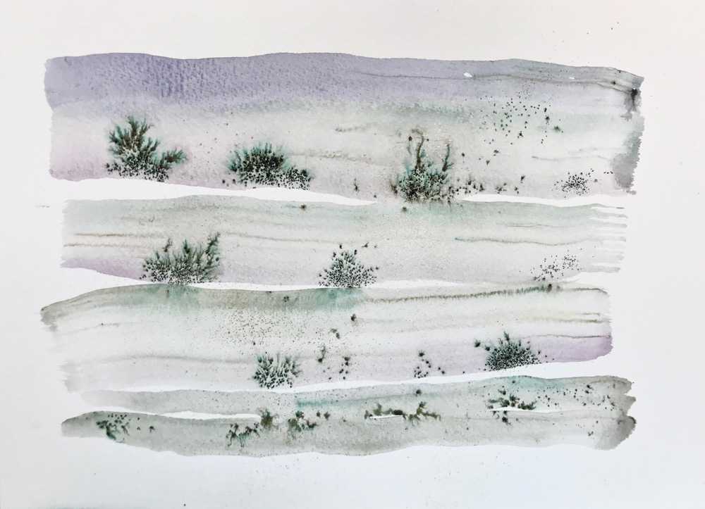 Little Landscape 8 Abstract watercolor painting on paper Natural romantic art