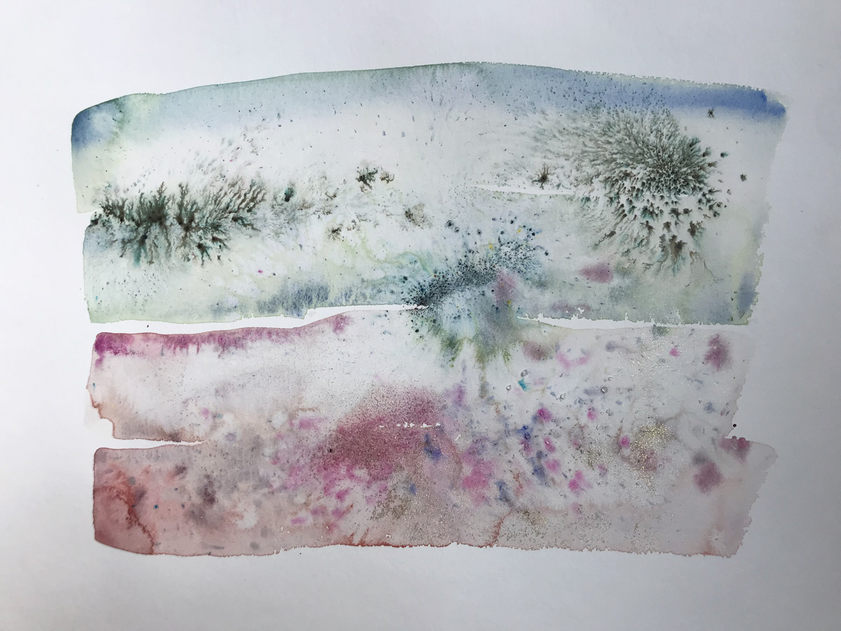 Little Landscape 9 Abstract watercolor painting on paper abstract landscape art